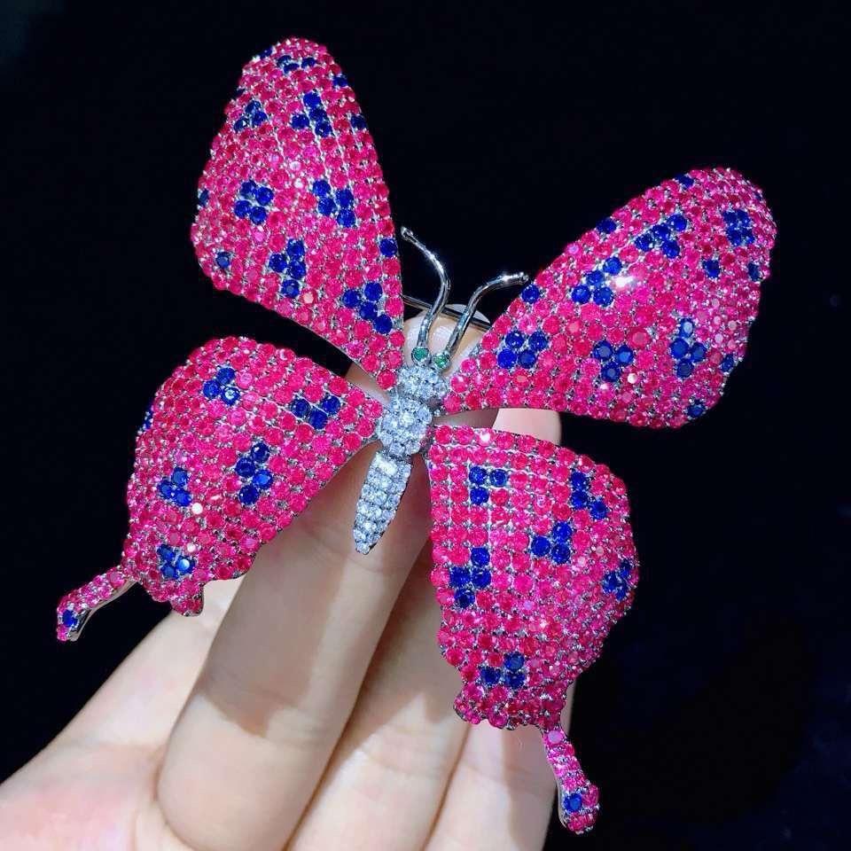 Rose rouge couleur grande broche papillon broches 925 en argent sterling avec zircon cubique 55*65 MM mode femmes bijoux livraison gratuite