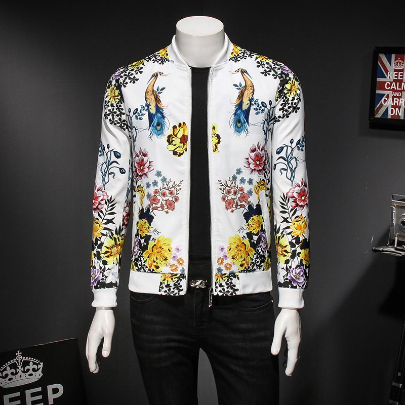 Floral Bird Print Male Jacket Spring Autumn Fashion Designer Vintage Jacket Men Club Outfit Gold Black White Bomber Jacket 5xl ...