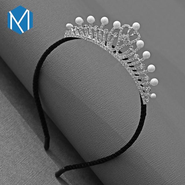 M MISM 2019 NEW Fahsion Girls Pearls Exquisite Hair Band Women Crown Wedding Party Hair Accessories Diamond Tiara Hair Hoop