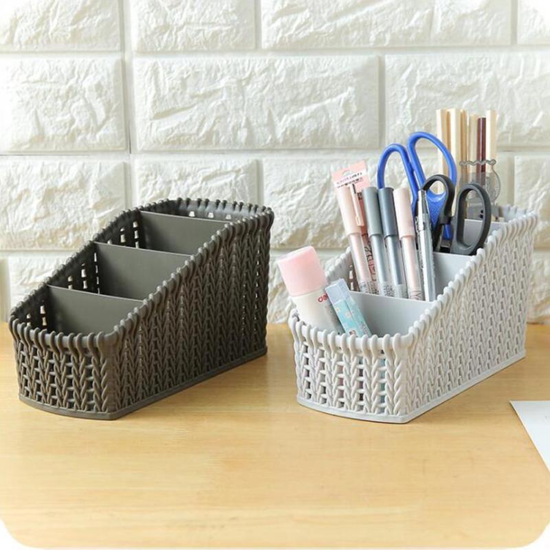 1pc Plastic Office Storage Basket Storage Basket Hollow Lace Desk Makeup Organizer Home Storage Box #20