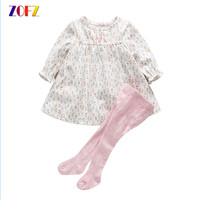 ZOFZ Baby Girl Clothes Spring Autumn Kawaii Small Floral Long Sleeve Dress Siamese Socks Girls