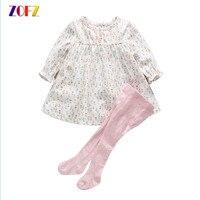 ZOFZ Baby Girl Clothes Spring Autumn Kawaii Small Floral Long Sleeve Dress Siamese Socks Girls