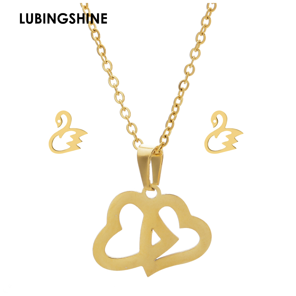 Romantic Stainless Steel Love Heart Pendant Necklace Earrings Jewelry Sets Gold Color Animals Stud Earrings for Women Party Gift
