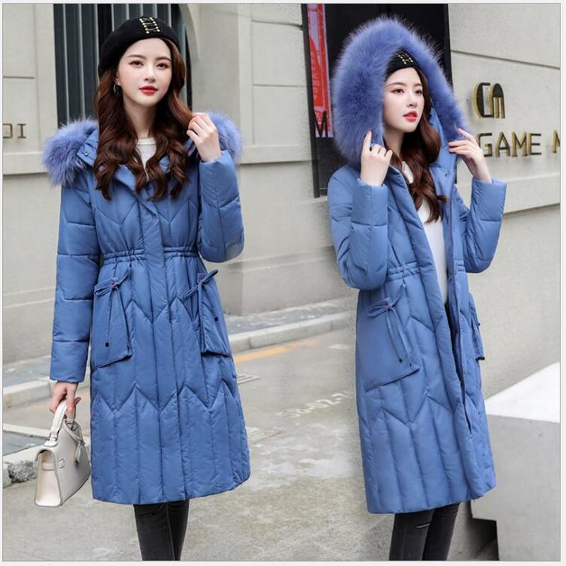 Large Fur Jacket Winter Women New Fashion Slim Hooded Cotton Padded Jacket Coat Female Thick Long women   Parkas   Outwear 5XL 221