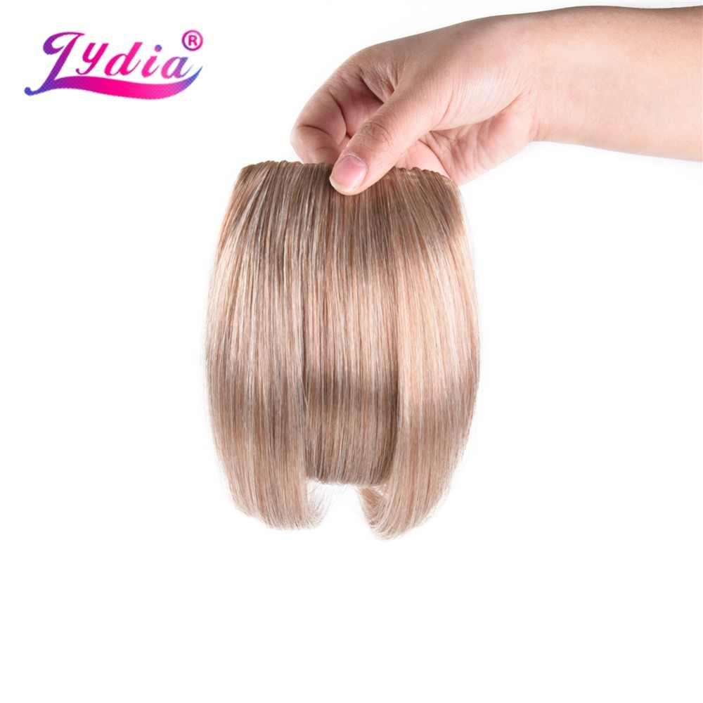 Лидия короткая прямая бахрома клип-в волосы челка блонд шиньон термостойкие синтетические поддельные тупые челки волосы для наращивания