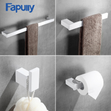 Fapully White Bathroom Accessories 4 Piece Sets Bath Wall Mount Sets Single Towel Bar Robe Hook Paper Holder Hardware G120-4W 10 sets dialog 14580 wristband beacon bluetooth 4 0 programmable ibeacon hardware