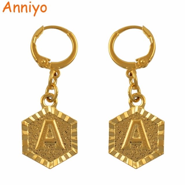 22d257566 Anniyo A-Z Letter Stud Earrings Women English Alphabet Earring Jewelry Gold  Color Initial (More Letter Check My Store) #131806