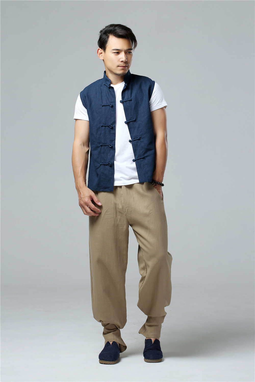 LZJN 2019 Men's Summer Waistcoat Chinese Style Vintage Breathable Linen Button Down Kung Fu Shirt Sleeveless Vest Jacket  (21)