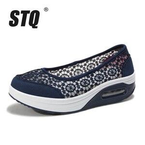 Image 2 - STQ 2020 Summer Women Flat Platform Shoes Women Breathable Casual Sneakers Shoes Slip On Platform Walking Shoes For Women 1618