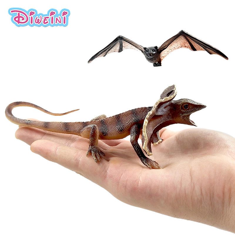 Small Kawaii Simulation Forest Frilled Lizard Bat Figurines Animal Model Figures Home Decoration Accessories Action Statue Toys