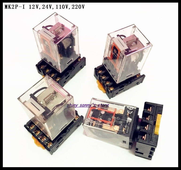 2 Sets/Lot MK2P-I DC12V DC24V AC110V AC220V Relay 8-Pin 10A 250VAC Electromagnetic Relay With Socket Base Brand New 10pcs 8 pin power timer relay socket base holder pf083a for mk2p i dh48s