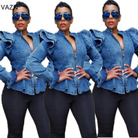 VAZN Autumn Hot 2018 Famous Brand Sexy Hollow Out Women Solid Ruffles Coats Ladies Zipper V Neck Full Sleeve Short Coats OMY5067