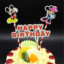 Minnie compleanno bandiera cake topper forniture decorazione di una torta del bigné toppers mickey decorazione felice torta di compleanno topper(China)
