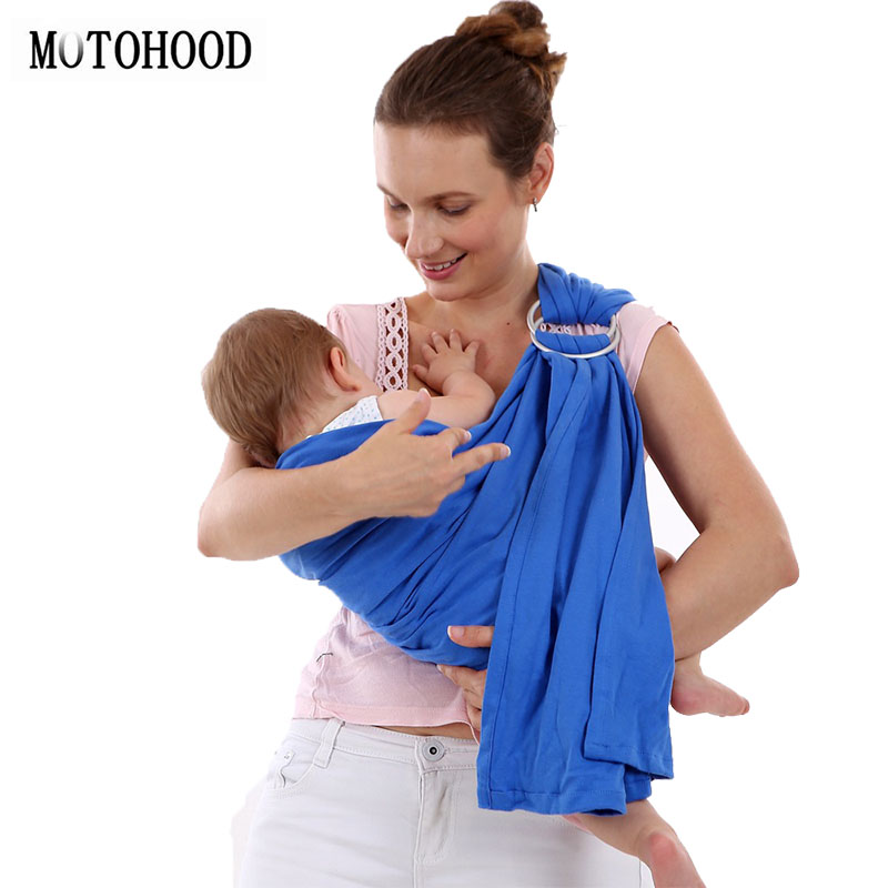 MOTOHOOD Adjustable Ergonomic Baby Carrier Metal Ring Sling Front Carry Kangaroo Cotton Warp Breast-Feeding Carrying 0-36months