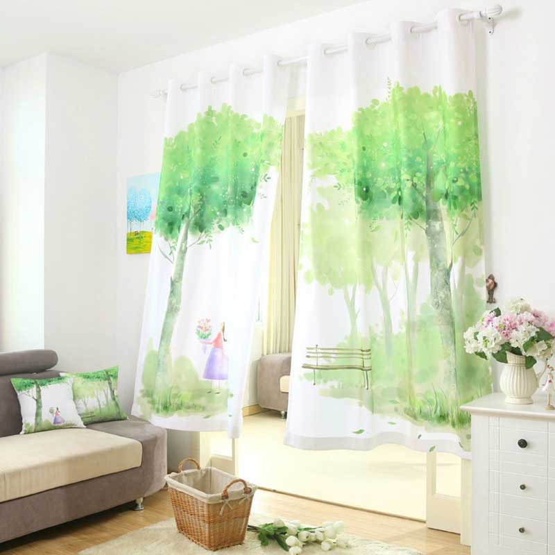 green window curtains for living living room bedroom luxury 3d