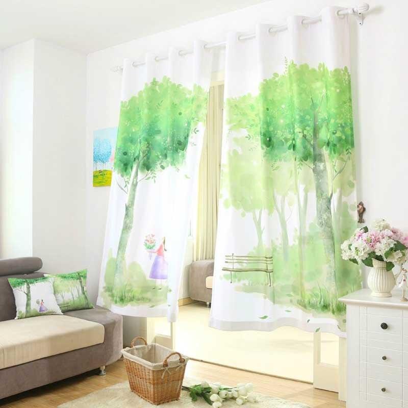 vert fen tre rideaux pour salon chambre de luxe 3d rideaux paysage idyllique chambre rideaux. Black Bedroom Furniture Sets. Home Design Ideas
