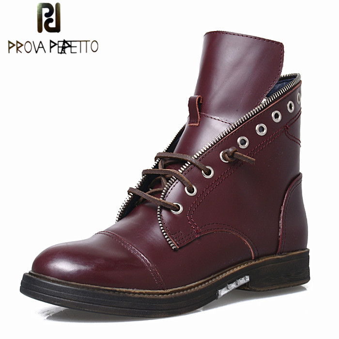 Prova Perfetto Women Genuine Leather Chelsea Short Boots Shoes Round Toe Low Heel Front Lace Up Casual Shoes Warm Boots Winter prova perfetto winter women warm snow boots buckle straps genuine leather round toe low heel fur boots mid calf botas mujer