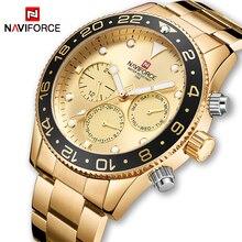 NAVIFORCE, relojes deportivos de lujo de marca para hombre, reloj de cuarzo con 24 horas de fecha para hombre, reloj moderno informal resistente al agua dorado para hombre