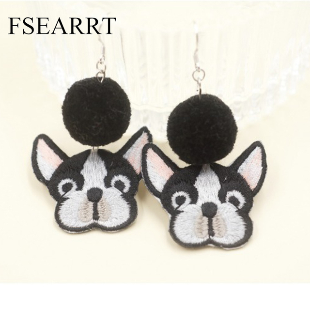 Amazing Bulldog Ball Adorable Dog - DIY-Handmade-Fashion-Vintage-Embroidery-Animal-French-Bulldog-Earrings-For-Women-With-Fur-Ball-Cute-Puppy  Collection_519  .jpg