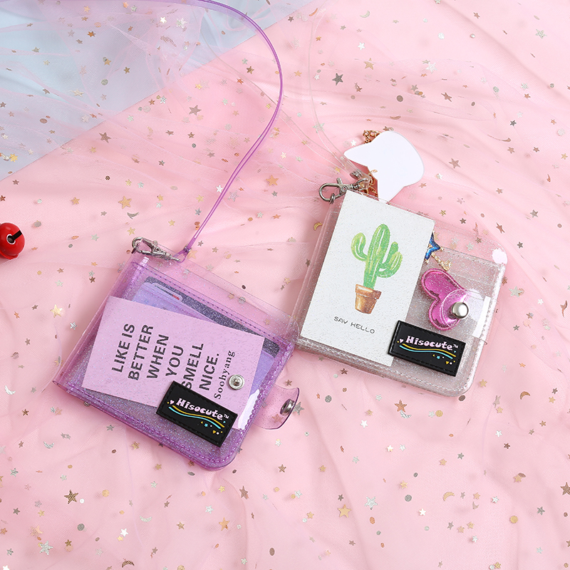 Fashion Glitter Transparent Jelly Wallet Idol Photo Folder Halter Girls Purse Korea Laser Card Holder Bags Clutch Women Wallets