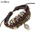 Nova Pulseira de Couro Jóias Hot Moda Multilayer Bonito Charm Bracelet Envoltório Para Mulheres Dos Homens Jesus Cruz Padrão de Peixe YK5026