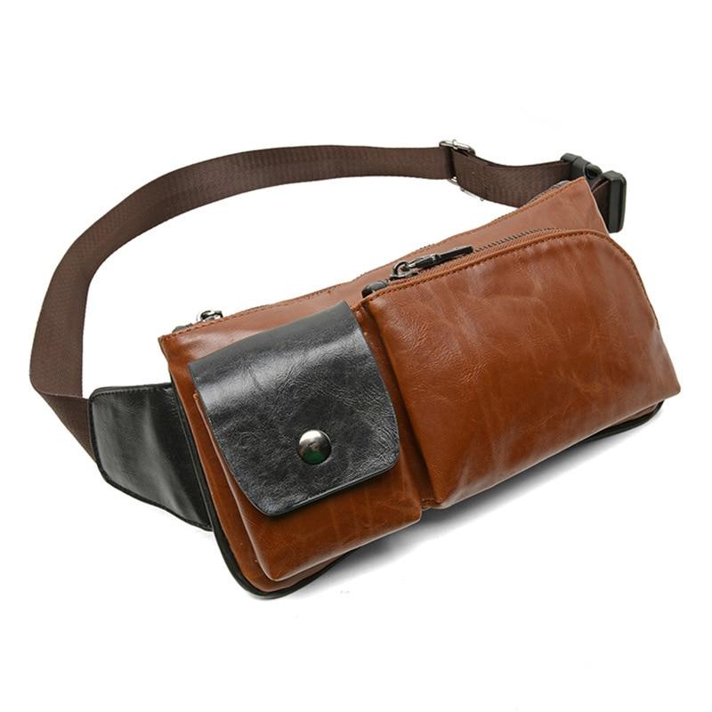 Bumbag Men Chest Pack Men Shoulder Bag Pu Leather Belt Bag Crossbody Bag Cell Phone Pocket Coffee Vintage Chest Bags Zipper Flap