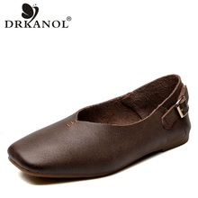 DRKANOL Vintage Genuine Leather Slip On Flat Shoes Women Casual Loafers Moccasins Ballet Flats Shoes Square Toe Ladies Shoes