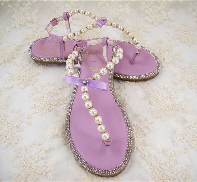 fbcc97ddce6a0 Free Shopping Rhinestones Bridal Sandals  Flat Wedding Shoes  Ivory Pearls  Sandals Flat Beaded Flip Flops Pink Lilac  Size 4 11-in Women s Sandals  from ...