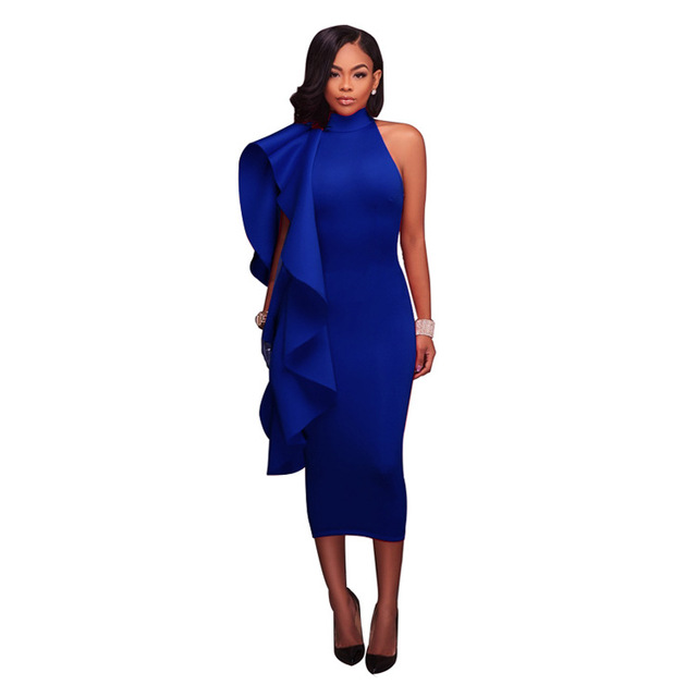 High Neck One Shoulder Side Ruffles Club Dress Plus Size Women Back ...