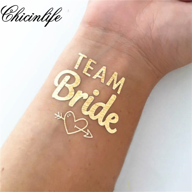 1st Team Bride Tillfällig Tattoo Bachelorette Party Bride Stam Flash Tattoos Bridesmaid present brud dusch bröllops dekoration