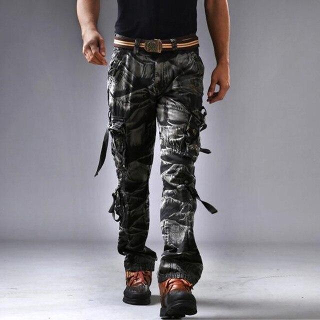 100% Хлопок Мужские Камуфляжные Брюки-Карго Военные Случайные Мульти-карманы Брюки P6024