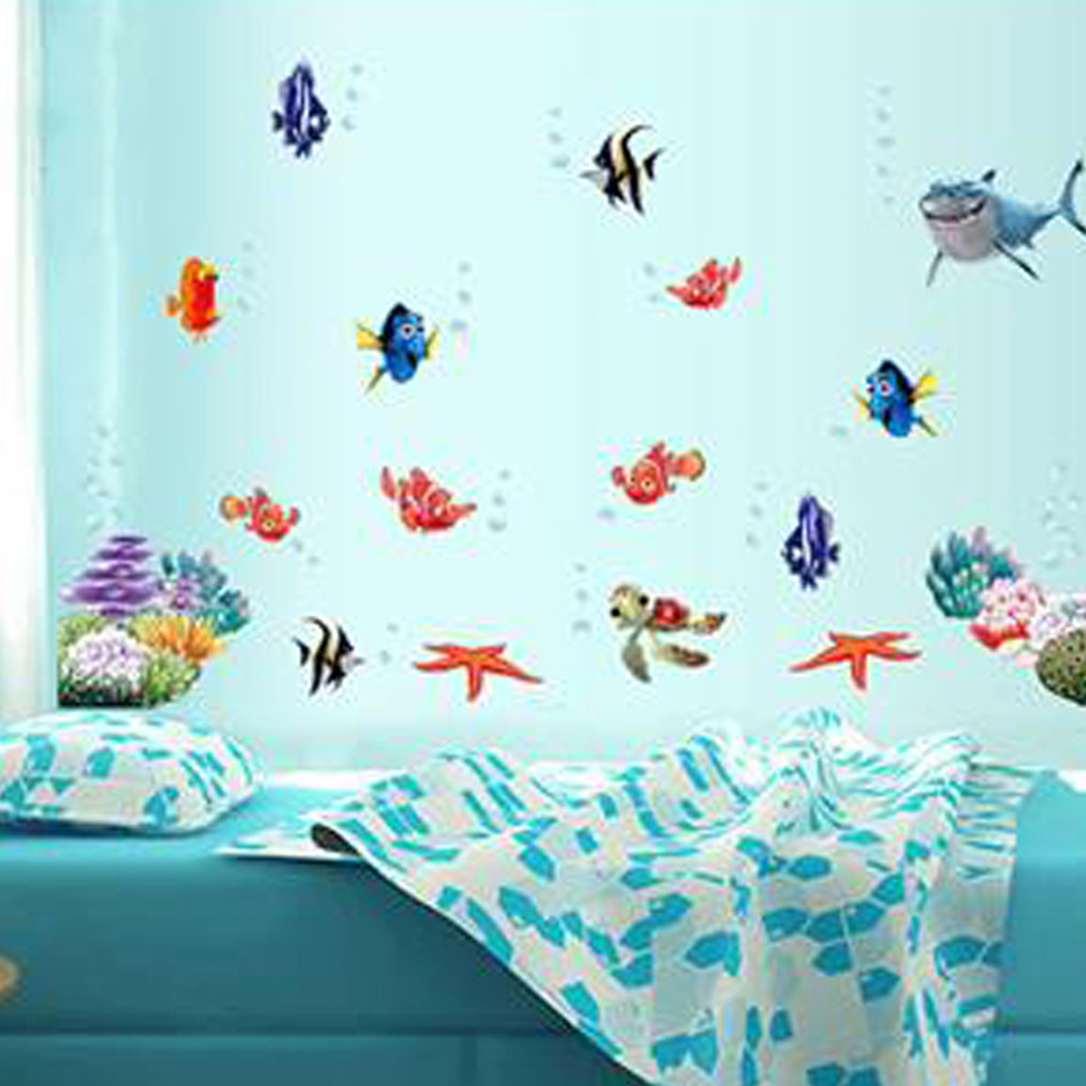 Bathroom wall decor stickers - Free Shipping Finding Nemo Under Sea Shark Fish 3d Cartoon Waterproof Vinyl Wall Decals Stickers