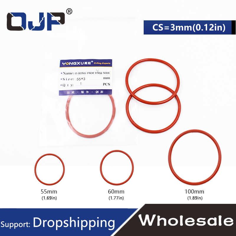 1 PC ซิลิโคนสีแดงแหวนซิลิโคน/VMQ O แหวน OD55/60/100*3 มม. แหวนยางซีลซิลิโคนซีลปะเก็นกันน้ำสุขาภิบาลเครื่องซักผ้า