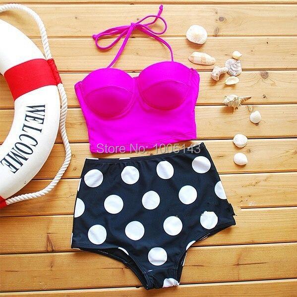 2017 Snelle Verzending Sexy Print Dot Hoge Taille Bikini Set Push - Sportkleding en accessoires