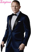 Linyixun Custom Made Dark Blue Tuxedo Inspired By Suit Worn In James Bond Wedding Suit business suits Groom suit( Jacket+ Pants(China)