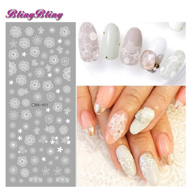 2 sheets Wedding Nail Sticker White Flower Nail Water Decals New ...