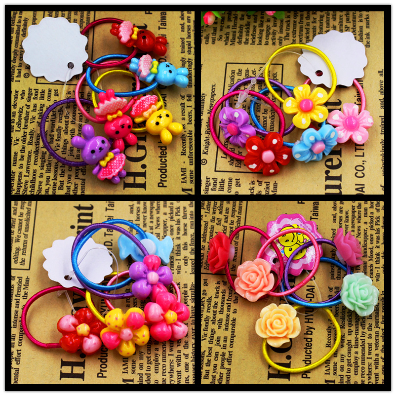 5pcs/lot Child Baby Girls' Hair Holders Rubber Bands Elastics Rabbit Candy Rose Flowers Super Cute 2015 New Fashion Tie Gum 10pcs lot candy fluorescence colored hair holders high quality rubber bands hair elastics accessories girl women tie gum
