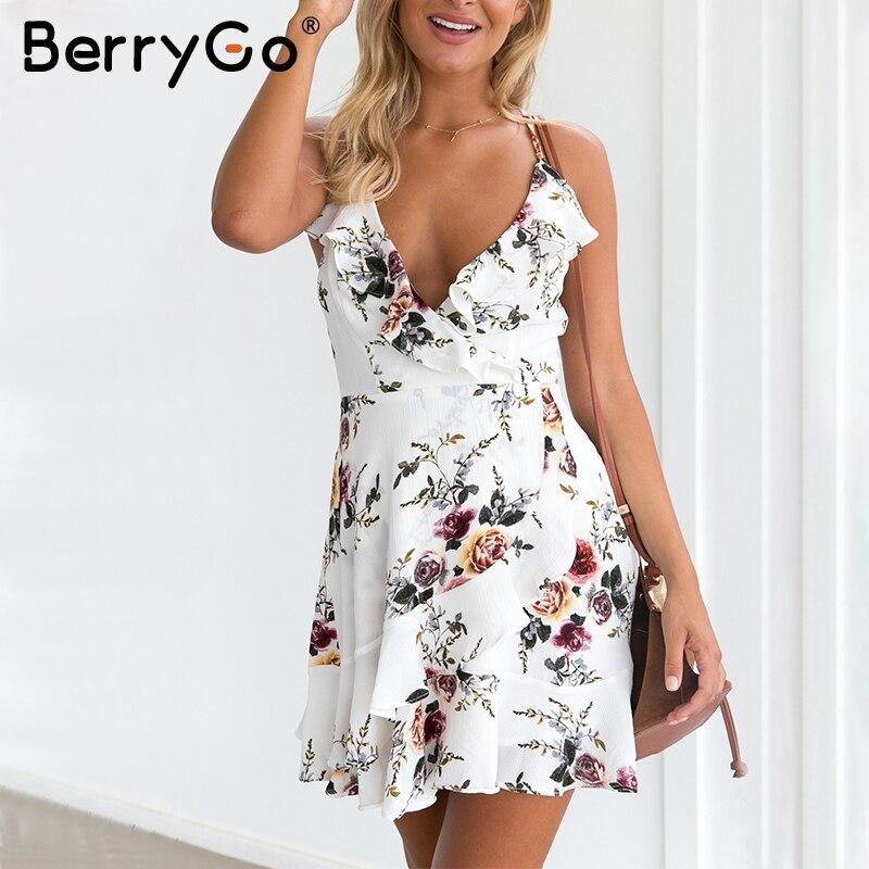 BerryGo lace up flower print summer dress women V neck ruffles bandage sexy dress Sleeveless party short dresses 1