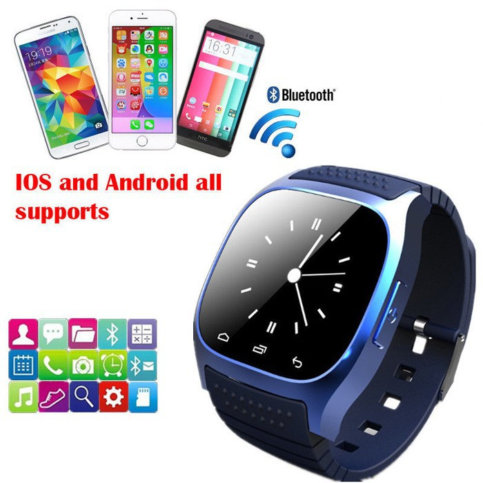 a3c01b44698 Waterproof Smartwatch M26 Bluetooth Smart Watch With LED Alitmeter Music  Player Pedometer For Apple IOS Android Smart Phone on Aliexpress.com