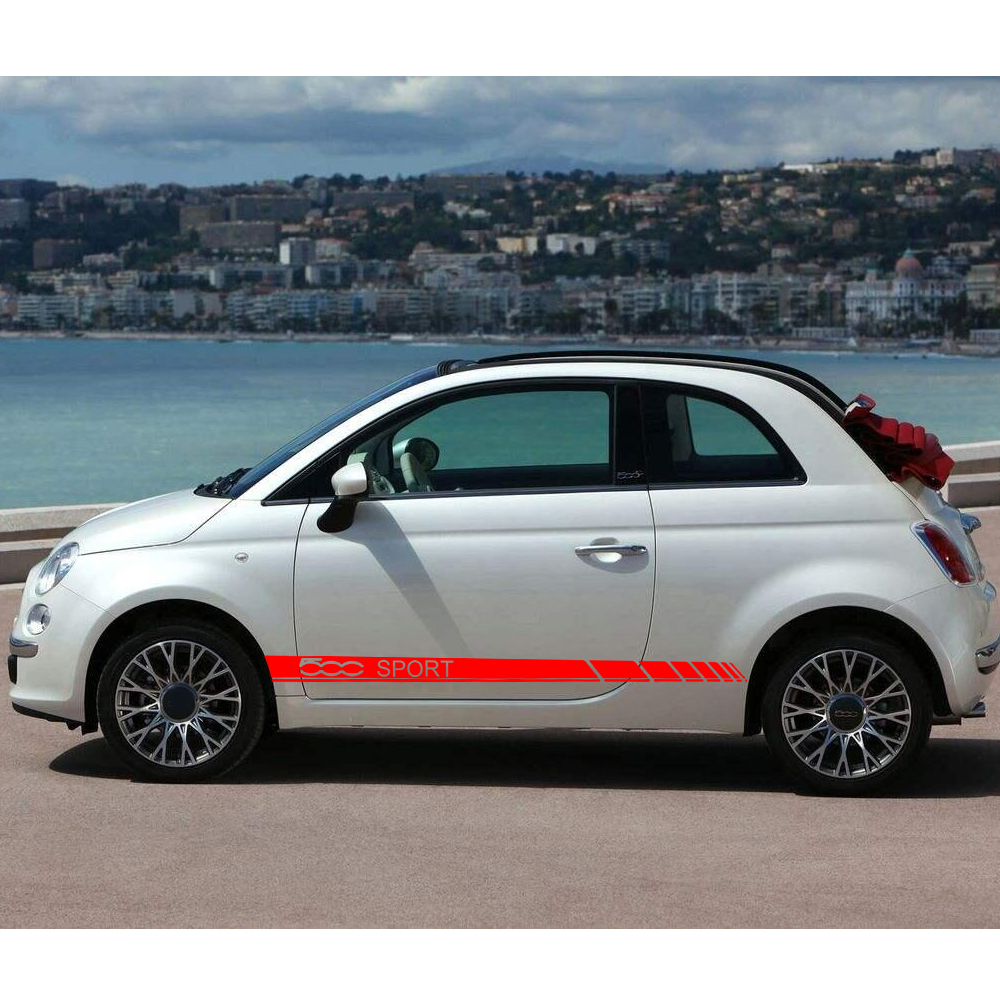 150x8cm Effect. Car Body Sticker For Fiat 500 SPORT ...