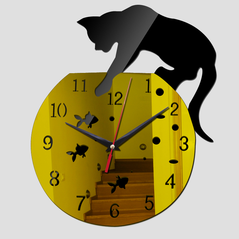 2017 new hot acrylic mirror wall clock modern design clocks reloj de ...