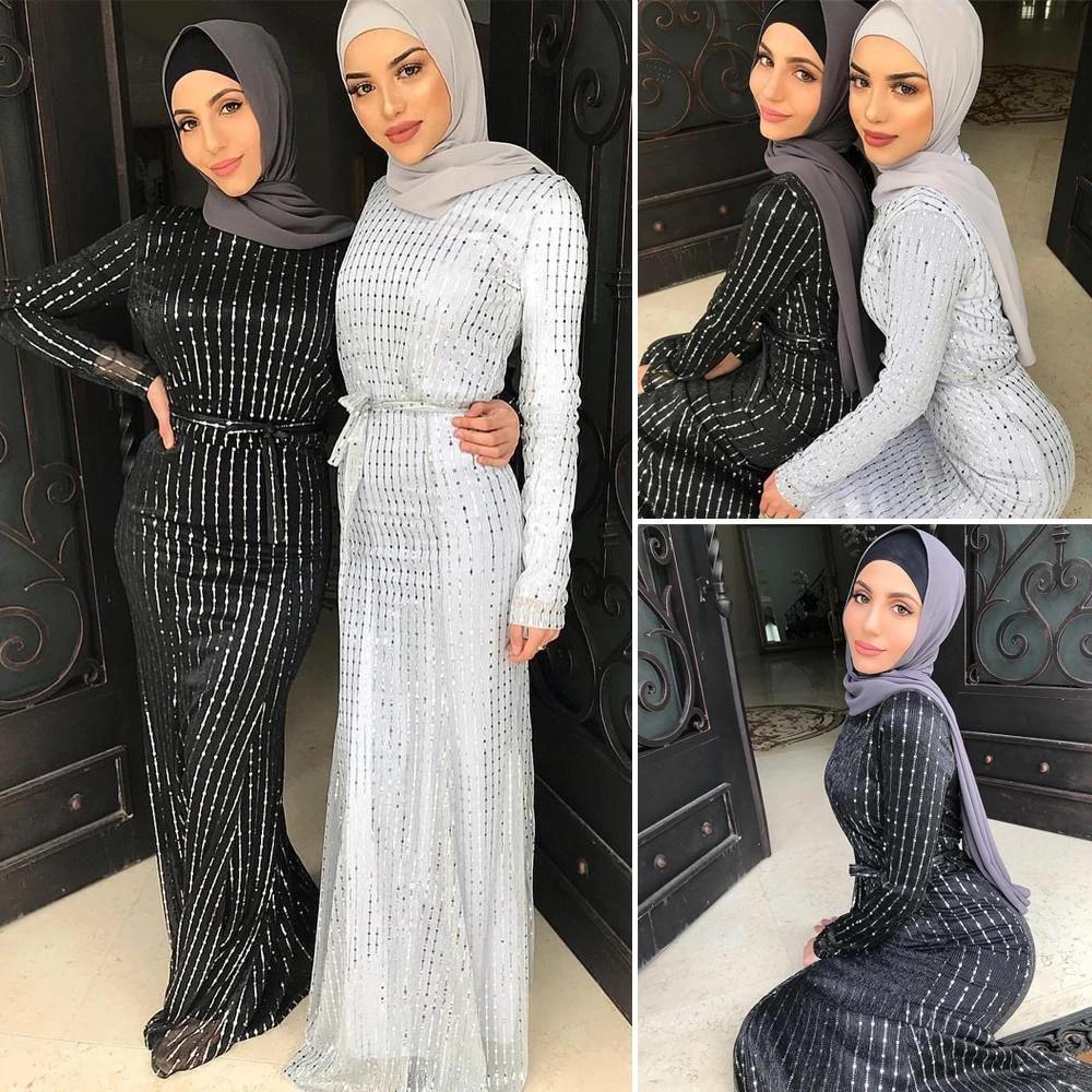 Sequin Abaya Kaftan Women Muslim Long Sleeve Maxi Dress Islamic Party Robe  Gown Luxury Dresses Arab Dubai Middle East Jilbab New