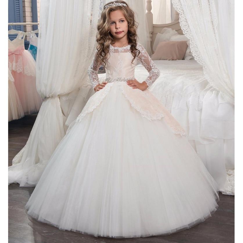 Wedding Flower Kids Girls Elegant Princess Girl Dress Party Formal Clothes Lace Tulle Graduation Pageant Long Bow Dress LP-209