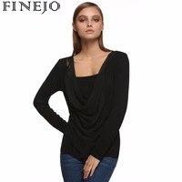 FINEJO Women Tshirt Camisetas Mujer Solid Women Tops Fashion 2016 Long Sleeve Patchwork Bottoming Shirt 2XL