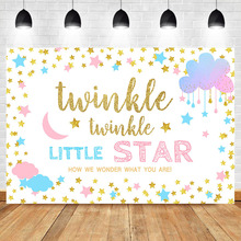 NeoBack Twinkle Star Gender Reveal Backdrop Pink or Blue Stars White Background Vinyl Boy Girl Banner Backdrops