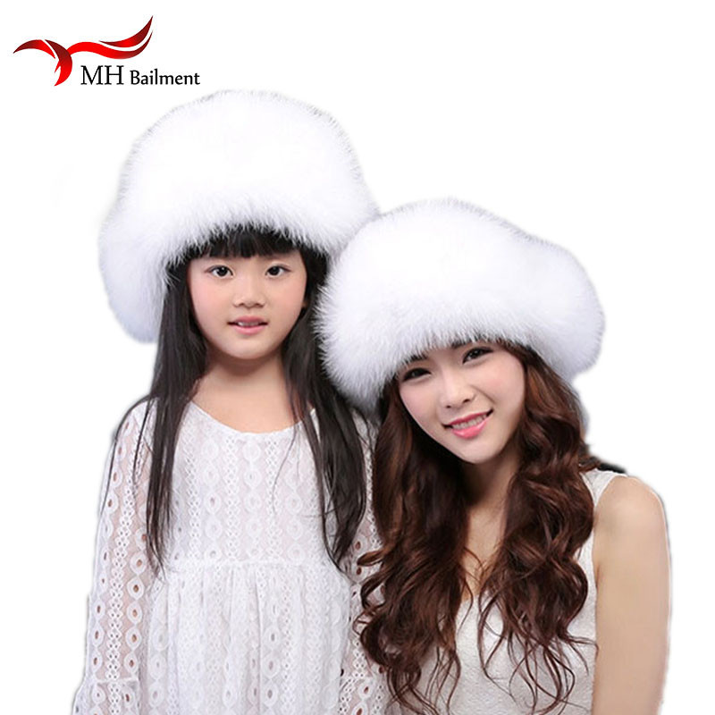 Hats Earmuff Fur-Hat Real Girl Winter Children Women Boy Warm Pompom-Ear Cap-W Fox-Fur