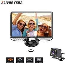 SLIVERYSEA 4Inch FHD 360 Degree IPS Touch Screen Car DVR Camera Dual Lens Dash Cam Rear View Registrar Fisheye Night Vision
