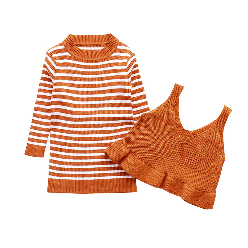 Children Clothing Girls Vest + Striped Sweater 2 Pieces Suits Spring Children Clothing Sets Teenage Girls Girls Sports suits