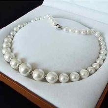 >@ подлинное 8-16 мм Белое Южное море жемчужное ожерелье ювелирные изделия 18 ''AAA стиль изысканные благородные настоящие натуральные S
