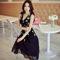 Оригинал 2017 бренд лето плюс Размеры Высокая талия Элегантный Повседневное цветочный Платье черного цвета Для женщин
